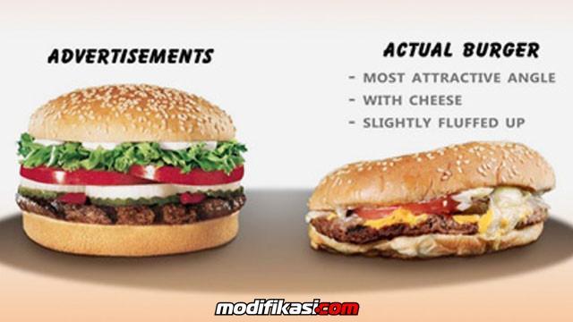 Pembohongan Konsumen Iklan Fast Food Beda Dengan Bentuk Aslinya