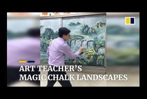 Hanya Dengan Kapur, Guru China Ini Sulap Papan Tulis Jadi Lukisan